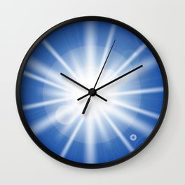 Sun rays and light effects on blue sky. Wall Clock