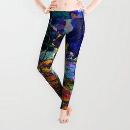 beautiful road in the night autumn forest Leggings