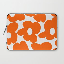 Orange Retro Flowers White Background #decor #society6 #buyart Laptop Sleeve