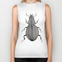 beetle Biker Tanks featuring Beetle  by Lucia Cordero