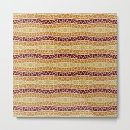 Mosaic Wavy Stripes in Burgundy, Terracotta and Yellows Metal Print