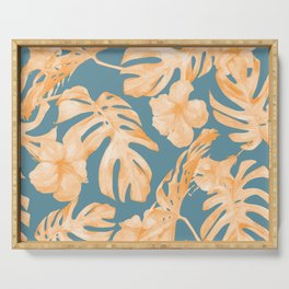 Island Hibiscus Palm Coral Teal Blue Serving Tray