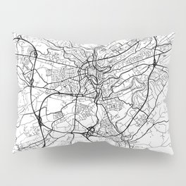 Luxembourg Map White Pillow Sham