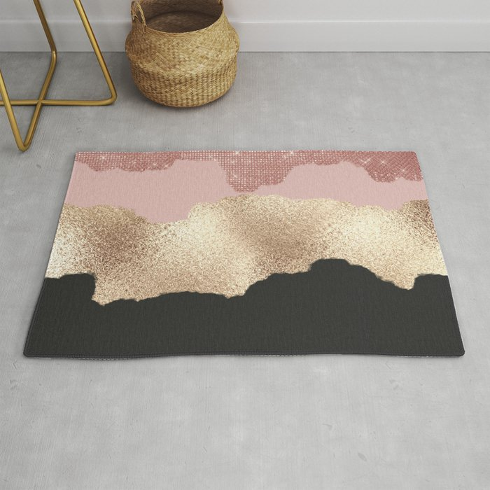 Rose Gold Glitter Black Pink Abstract