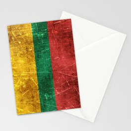 Vintage Aged and Scratched Lithuanian Flag Stationery Cards