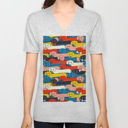 COLORED DOGS PATTERN 2 Unisex V-Neck