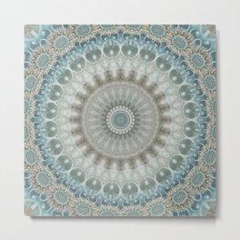 Grey, Blue and Ivory Mandala Metal Print