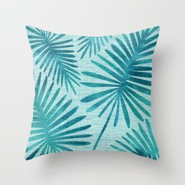 Mid Century Tiki Fronds Throw Pillow