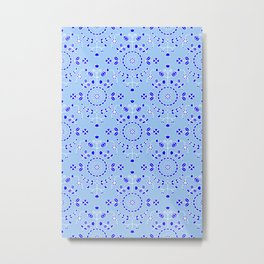 Boho Floral - Cobalt Light Blue Metal Print