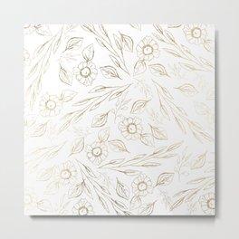 Elegant gold foil white foliage floral illustration Metal Print