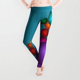 fractal pattern on turquoise -301- Leggings