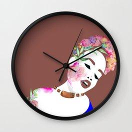 Flowered woman Wall Clock