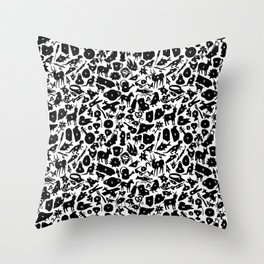Alphabet Compendium Letter Silhouette Pattern Throw Pillow