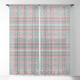 Ethnic Bohemian Style Pattern Sheer Curtain