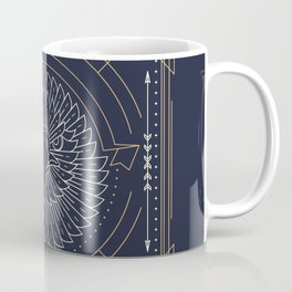 Eagle Head Front Gold White on Black Background Coffee Mug