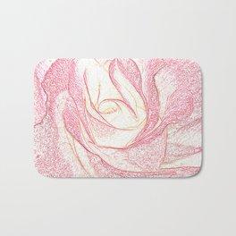 Summer Rose Pencil on White Bath Mat