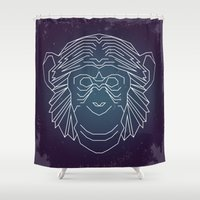 ape Shower Curtains featuring Geometric Ape by James Thornton