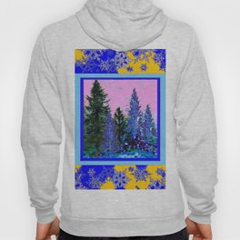 YELLOW-BLUE WINTER SNOWFLAKES  FOREST TREE  ART Hoody