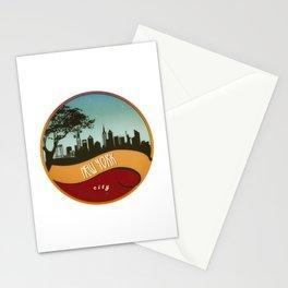 New York City Skyline NYC Retro Vintage Design  Description Stationery Cards