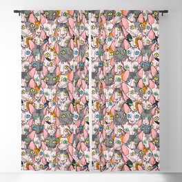diverse sphynx cat allover print Blackout Curtain