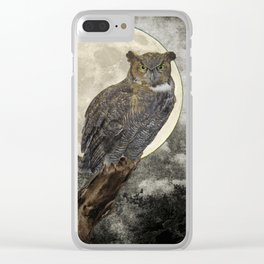 Rustic Great Horned Owl Bird Moon A271 Clear iPhone Case