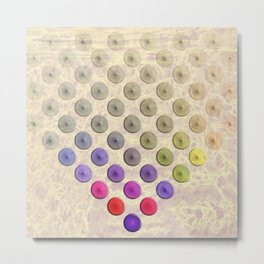 Vibrant button polka dots on texture Metal Print