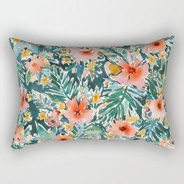 TROPICAL SNEEZE Watercolor Floral Rectangular Pillow
