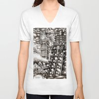 dalek V-neck T-shirts featuring DALEK INVASION by Bungle