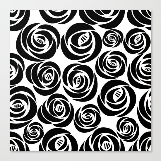 Black and White Floral Pattern Canvas Print