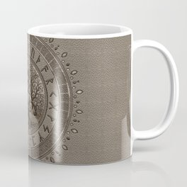 Tree of life with Triquetra Beige Leather and gold Coffee Mug