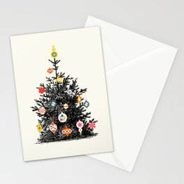 Retro Decorated Christmas Tree Stationery Cards