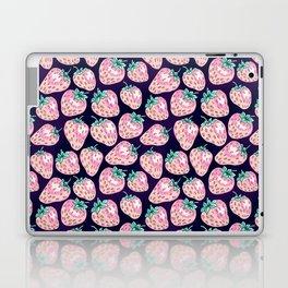 Pink Strawberry pattern on purple background Laptop & iPad Skin