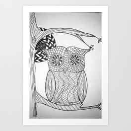 TangleArt Owl by  Arlette Art Print