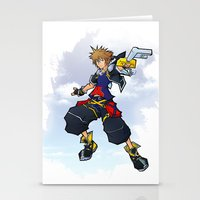 kingdom hearts Stationery Cards featuring Kingdom Hearts 2 - Sora by Outer Ring