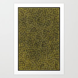 Black and faux gold swirls doodles Art Print