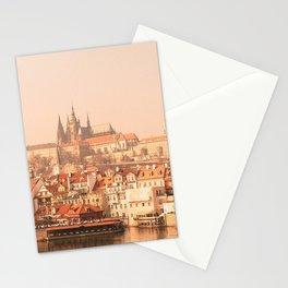 City -  Water -  Clouds -  Buildings -  Bridge - Vintage -  Foggy - Vintage illustration. Retro décor. Stationery Cards