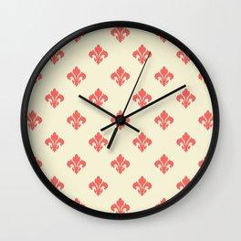 Pink Fleur De Lis Wall Clock
