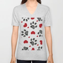 Doodle black paw print with red shining hearts seamless pattern Unisex V-Neck