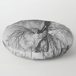 Lungs of the Earth | Nature Photography | Weeping Willow | Black and White | black-and-white | bw Floor Pillow