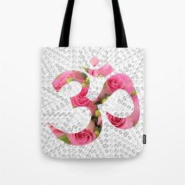 Aum Rose Silver Mandala Tote Bag