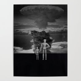 Atomic Bomb Cloud with Wooden Dolls Poster