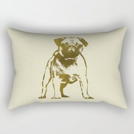 Pug Puppy sketch on canvas with gold accents Rectangular Pillow