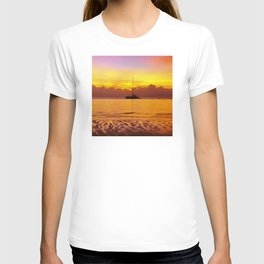 Tropical Sunset and Sailboat Silhouette in South Pacific T-shirt