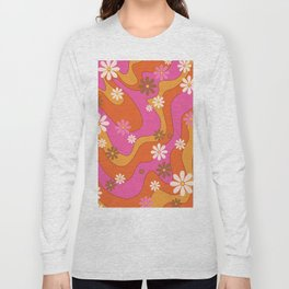Groovy 60's and 70's Flower Power Pattern Long Sleeve T-shirt