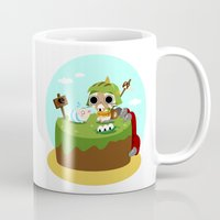 monster hunter Mugs featuring Monster Hunter - Felyne and Poogie by tcbunny