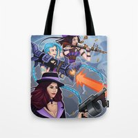 league of legends Tote Bags featuring League of Legends Gunners by Arnix