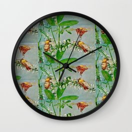 Vintage illustration bees Wall Clock