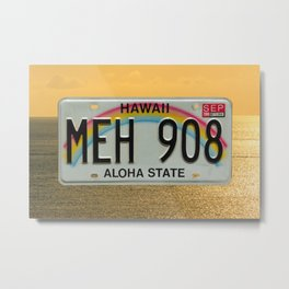Hawaii MEH Aloha State Tag Automotive License Plate Metal Print