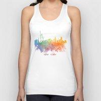new york skyline Tank Tops featuring Colored skyline New York by jbjart