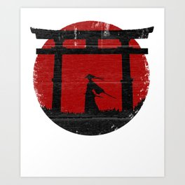 Samurai warrior, red sun with zen japan temple Art Print
